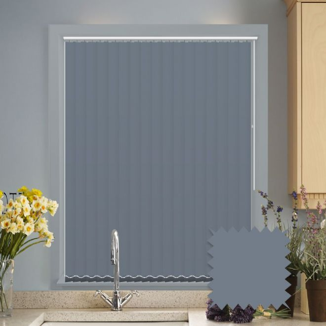 Made to measure vertical blinds in Splash Sonar Navy Blue plain fabric - Just Blinds